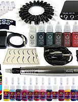 Solong Tattoo Rotary Tattoo Machine & Permanent Makeup Pen 20 Needle Cartridges Ink Set Power Supply Foot Pedal EK101-6