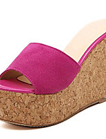 Women's Shoes Fleece Summer Wedges / Heels Outdoor / Casual Wedge Heel Black / Red