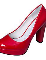 Calçados Femininos-Saltos-Saltos-Salto Grosso-Preto / Vermelho / Branco / Amêndoa-PU-Casamento / Ar-Livre / Escritório & Trabalho /