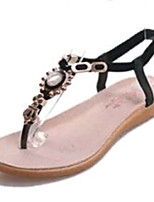 Women's Shoes PU Flat Heel Round Toe Sandals Outdoor / Office & Career / Athletic / Dress / Casual Black / White