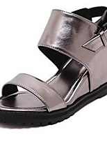 Women's Shoes Denim Wedge Heel Wedges / Open Toe Sandals Outdoor / Casual Black / Gray