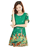 Women's Casual/Daily / Plus Size Street chic Chiffon Dress,Floral Round Neck Above Knee Short Sleeve Red / Green Polyester Summer