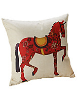 Design Print Red Horse Decorative Throw Pillow Case Cushion Cover 17inch for Sofa Home Decor Polyester Material