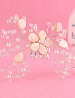 Bride's Flower Shape Beads Rhinestone Hair Wedding Accessories Hair Combs  1 Piece