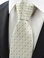 New Beige Ivory Blue Flora Checked Classic Men's Tie Necktie Wedding Gift KT0068