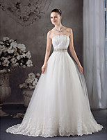 A-line Wedding Dress-Court Train Strapless Satin / Tulle
