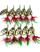 Hengjia 10pcs Spoon Metal Fishing Lures 64mm 6.6g Spinner Baits Random Colors