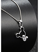 2016 NEW High Quality Crystal Jewelry Real 925 Silver Link Chain Natural Rhinestone Mickey Mouse Pendant Necklace