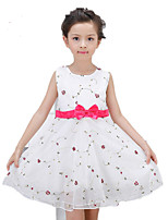 Girl's Casual/Daily Print Dress,Polyester Summer / Spring Pink / White / Beige