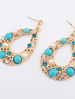 TOP Fashion Shinning Rhinestone And Simulated Pearl Water Shaped Drop Earrings For Women Accessories