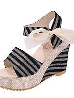 Chaussures Femme-Extérieure / Décontracté-Noir / Bleu / Beige-Talon Compensé-Compensées-Sandales-Similicuir