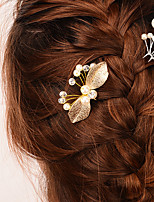 Women Alloy Leaf Butterfly / Imitation Pearl Hair Stick Hair Accessories ,Vintage / Cute / Party / Casual Other