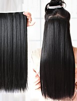20 Inch Synthetic Straight Black Clip In Hair Extension
