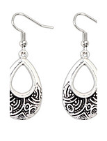 Retro National Alloy Metal Dangle Drops Earrings Silver Ear Hook Vintage Style Women Jewelry