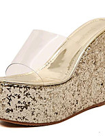 Women's Shoes Leatherette Summer Wedges / Heels Outdoor / Casual Wedge Heel Sequin Silver / Gold