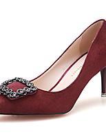 Damenschuhe-High Heels-Lässig-Vlies-Stöckelabsatz-Absätze-Schwarz / Grün / Burgund / Khaki