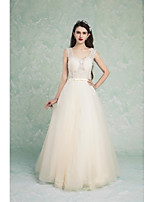 Formal Evening Dress A-line V-neck Floor-length Tulle with Appliques / Beading