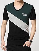 Men's Color Block Casual T-Shirt,Cotton Short Sleeve-Black / Green / White