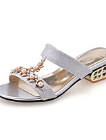 Women's Shoes Glitter Chunky Heel Comfort Sandals Wedding / Party & Evening / Dress / Casual Blue / Silver / Gold