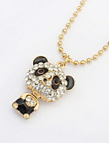 2016 Fashion Shinning Rhinestone Cute Panda Pendants Necklaces For Women Jewelry