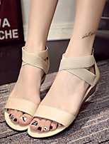 Women's Shoes Leatherette Wedge Heel Wedges Sandals Office & Career / Party & Evening / Dress / Casual Black / Beige