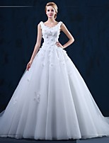 Ball Gown Wedding Dress-Court Train Scoop Tulle