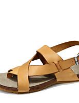 Zapatos de Hombre-Sandalias-Exterior / Casual / Laboral-Cuero-Amarillo / Caqui