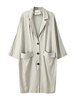 Women's Solid White / Black Coat,Simple Long Sleeve Cotton