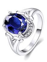 2016 New Noble Luxury Platinum Plated Wedding Blue Zircon Women Party Ring