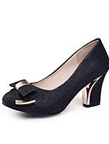 Zapatos de mujer-Tacón Robusto-Comfort / Punta Redonda-Tacones-Boda / Exterior / Vestido-Materiales Personalizados-Negro / Oro / Beige