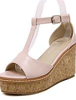 Chaussures Femme-Extérieure / Décontracté-Rose / Beige-Talon Compensé-Compensées / Talons-Sandales-Similicuir