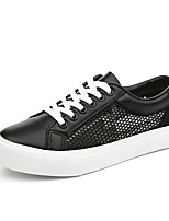 Women's Shoes Tulle Flat Heel Comfort / Styles / Round Toe Flats / Fashion Sneakers Outdoor / Casual Black / White