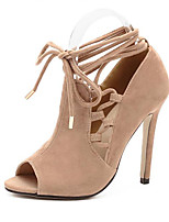 Women's Shoes Fleece Stiletto Heel Peep Toe / Platform Heels Dress Almond
