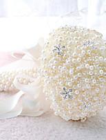 Bouquets de Noiva Redondo Rosas Buquês Casamento / Festa / noite Azul / Rosa / Vermelho / Branco / Roxo / MarfimPoliéster / Cetim / Renda