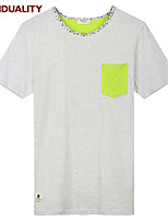Trenduality® Men's Round Neck Short Sleeve T Shirt Gray-43223