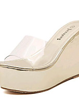 Women's Shoes Leatherette Summer Wedges / Heels Outdoor / Casual Wedge Heel White / Silver / Gold