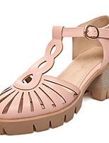 Women's Shoes Chunky Heel Gladiator/T-Strap Sandals/Heels Office & Career/Dress Pink/White/Beige