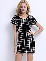 Women's Plus Size / Casual/Daily Street chic Sheath Dress,Check Round Neck Mini Short Sleeve Black Polyester Summer
