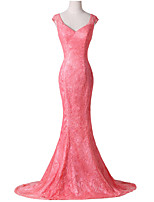 Formal Evening Dress-Watermelon Trumpet/Mermaid V-neck Sweep/Brush Train Lace