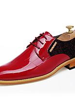 Masculino-Oxfords-Conforto sapatos Bullock Sapatos formais-Rasteiro-Preto Vermelho-Couro-Casamento Escritório & Trabalho Festas & Noite