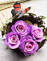 Eight Purple Roses/Box Bicolor Preserved Fresh Flowers