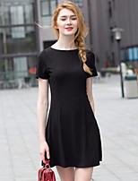 Zishangbaili® Women's Round Neck Short Sleeve Knee-length Dress-XZ52063