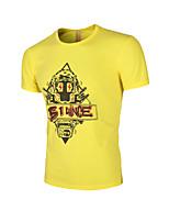 Herren T-shirt-Druck Freizeit Baumwolle Kurz-Schwarz / Blau / Weiß / Gelb