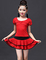 Latin Dance Outfits Children's Performance Spandex / Viscose Draped 2 Pieces Fuchsia / Red / Royal Blue Latin Dance Top / Skirt