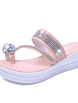 Women's Shoes PU Platform Slippers / Open Toe Sandals / Slippers Outdoor / Dress / Casual Pink / White