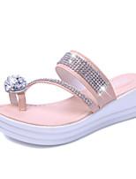 Chaussures Femme-Extérieure / Habillé / Décontracté-Rose / Blanc-Plateforme-Bride Orteil / Bout Ouvert / Chaussons-Sandales / Chaussons-PU