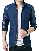 Men's Long Sleeve Jacket,PU / Polyester Casual / Work Solid / Patchwork 916025