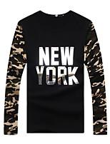 Men's Print / Patchwork / Letter Casual / Plus Sizes T-Shirt,Cotton Long Sleeve-Black