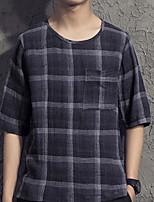 Tee-Shirt Décontracté Pour des hommes Manches Courtes Tartan Polyester