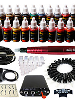 solong tattoo roterende tattoo machine& permanente make-up pen 50 naaldpatronen inktset voeding voetpedaal ek103-2